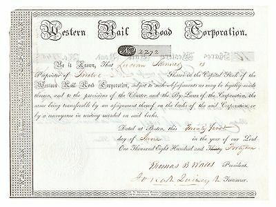 1841 Western Railroad Corporation, to Lucian Skinner Stock Certificate No. 2272
