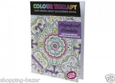 Art Colour Therapy Anti Stress Adult Colouring Colour Book 64 Pages 32 Designs