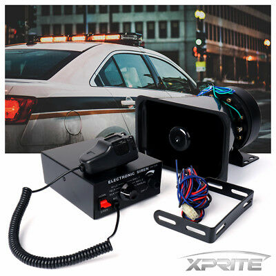 Xprite 100W Loud Speaker PA Horn Siren System Mic Kit Police Car Fire Truck