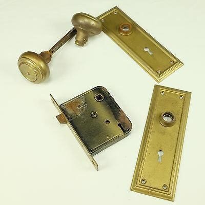 Vintage Yale Steel Door Knobs Mortise Style Lockset Deadbolt Cover Plates
