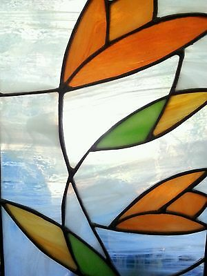 Vintage stained glass panel hanging 14.25""