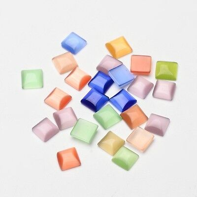 50PCS Mixed Color Square Cat Eye Beads Cabochons 8x8x2.5mm for Making Necklaces
