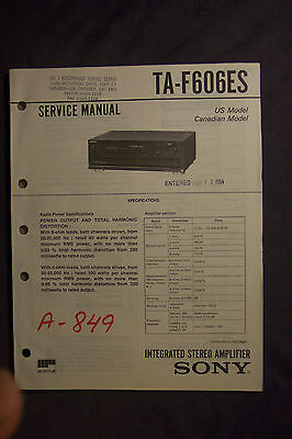 Sony TA-F606ES Stereo Integrated Amplifier Service Manual