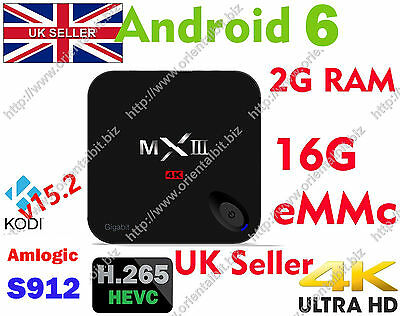 New MXIII-G II S912 Fully Loaded Octa Core 2G+16G Android 6 Smart TV BOX