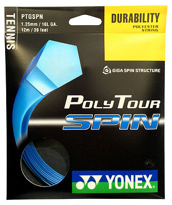 Yonex Poly Tour Spin 16L / 1.25mm Tennis Racket String - Blue