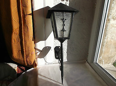 French vintage wall light sconce wrought iron glass c.1950 - 60 great detailed