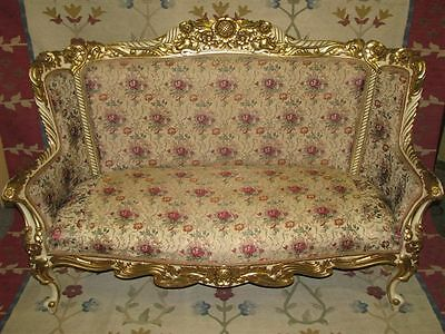 Dramatic French c. 1900 Rococo Sofa, Heavily Gilded --  Fabulous Condition