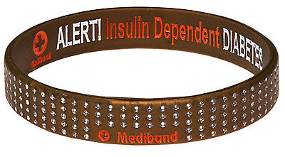Diabetes Insulin Dependent Gold Dot Silicone Wristband Medical Alert ID Bracelet