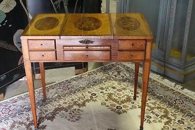1920's French Louis XVI Dressing Table w/ Inlaid Top & Interior Compartments