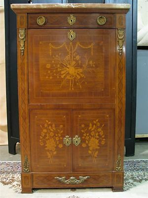 Louis XVI Style Secretaire Abbatant With Extensive Inlay & Marble Top