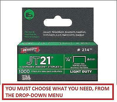 Arrow JT21 Staples for Staple Gun Box of 1000 sizes 6mm, 8mm,10mm