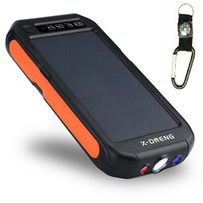 Waterproof 900000mAh Portable Solar Charger Dual USB Battery Power Bank Black