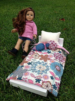 """Fun and Happy American Girl Doll Or 18"""" Doll 4 Piece Bedding Set Handmade"""
