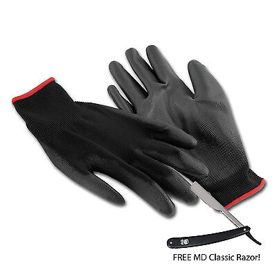 MD Barber Elite Heat Resistent Barber Gloves (4 pairs) w/Free MD Classic Razor