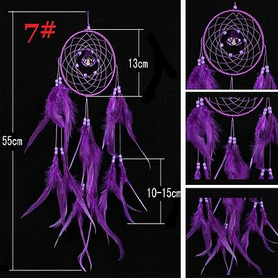 Handmade Dream Catcher with Feather Wall Hanging Decoration Ornament Gift Purple