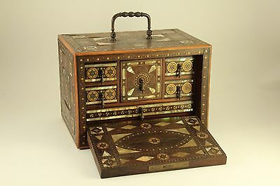 Indo Persian Style Writing Cabinet Jewelry Box Mosaic Marquetry Wood Pearl Inlay