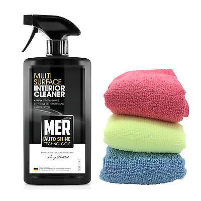 Mer Multi Surface Car Interior Dashboard Upholstery Cleaner + Microfibre Cloths