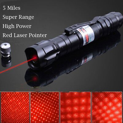 Powerful Red Laser Pointer Pen Military 5 Miles 532nm+18650 Visible Beam Lazer