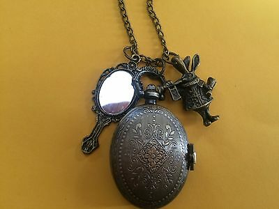 Steampunk Alice in Wonderland Oval Watch with Mirror & Rabbit Charm on Necklace