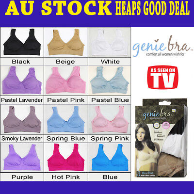 Genuine Genie Bras with Pads Comfort Support Seamless Shapewear S M L XL XXL 3XL