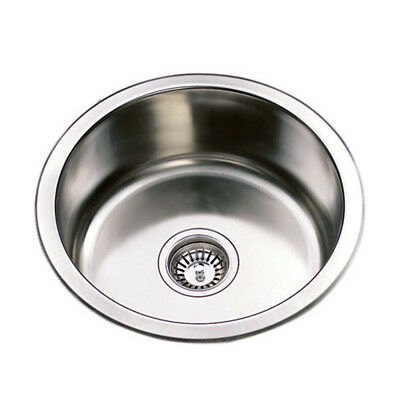 430*430*170mm Sink 1 Bowl Stainless Steel Round Edge for Kitchen Laundry