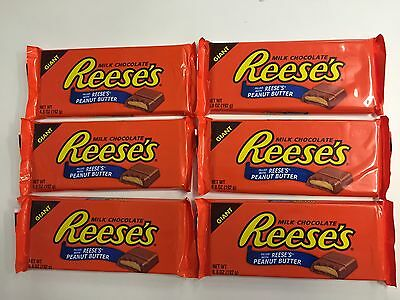 6 x 192g REESE'S MILK CHOCOLATE BARS FILLED WITH PEANUT BUTTER - MADE IN THE USA