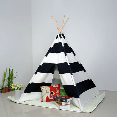 Kids Teepee Tipi Play Tent Playhouse indoor outdoor Black Striped Tents