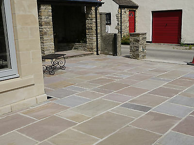 PREMIUM Natural Indian Sandstone Patio Paving Slabs Flags Pavers in mixed packs
