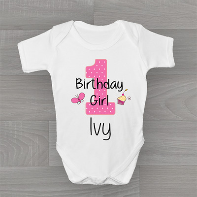 Personalised First Birthday Girls Cupcake Butterfly, 1st Baby Grow Body Suit