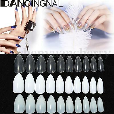 600 Pcs Almond Tips Stiletto Pointy Oval Nails False Shape Acrylic Gel Claw Nail