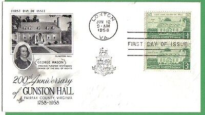 1958 Us Fdc 200Th Anniv Gunston Hall 3C Stamp-Pair Ac First Day Of Issue Cover
