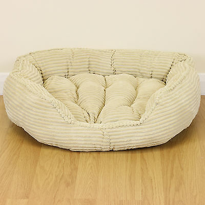 Medium Cream Corduroy Thick Plush Dog/Puppy/Cat Pet Bed Soft Fleece Warm Cushion