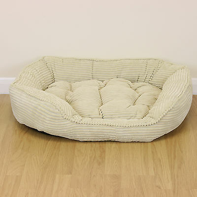 Large Cream Corduroy Thick Plush Dog/Puppy/Cat Pet Bed Soft Fleece Warm Cushion • EUR 19,65