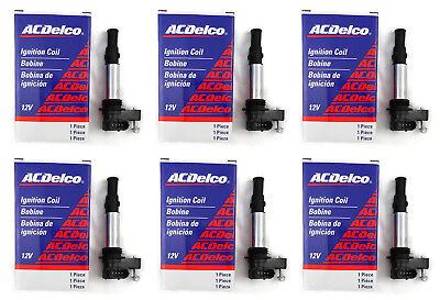 (6 Pcs) D501C OEM ACDelco Ignition Coil GM 12629037 UF375 Cadillac Buick Acadia