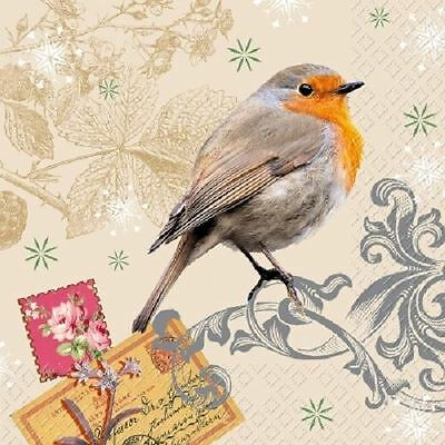 4 x Paper Napkins - Robin - Ideal For Decoupage / Decopatch (2071)