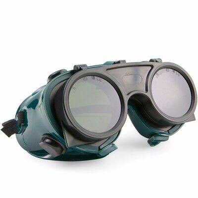 Welding Cutting Welders Safety Goggles Glasses Flip Up Dark Green Lenses
