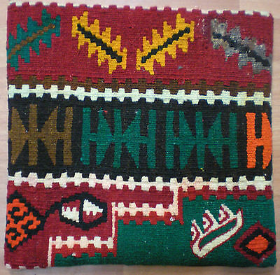 "Made From Turkish Anatolian Veg. Dye Handwoven Kilim Rug Pillow Cover 14"" X 14"""