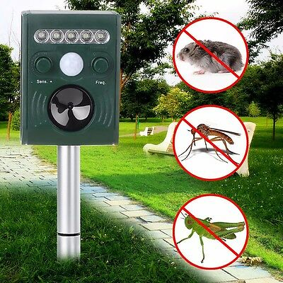 Solar Ultrasonic Garden Deterrent Repeller Cat Dog Fox Bird Scarer Pest Chaser