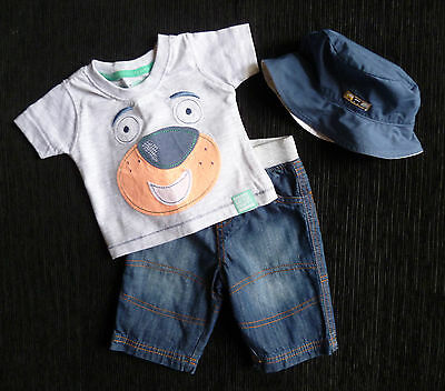 Baby clothes BOY 0-3m 3-piece outfit NEXT denim jeans Early Days T-shirt+hat NEW