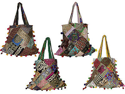 10 Cotton Ethnic Embroidered Patchwork Rajasthani Style Tote Wholesale Lot Bags