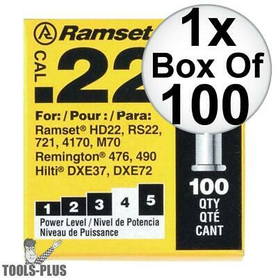 "Ramset 42CW Box of 100 #4 ""Yellow"" 22 cal Single Shot Loads New"