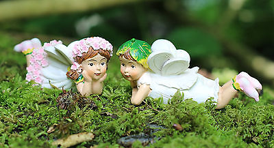 Set of Two Flower Fairy Garden Ornaments Outdoor Fairies pixie Christmas Gift