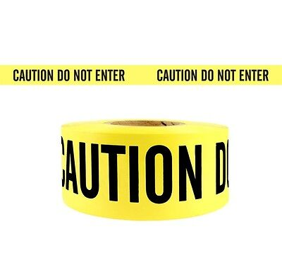 "1 Roll- Yellow Barrier Caution Do Not Enter Tape 2.0 MIL 3""X1000 Ft. *Free Ship*"