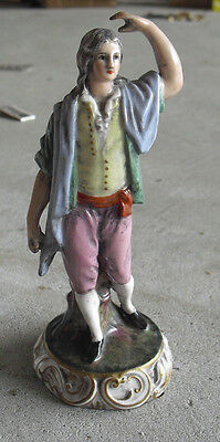 "Antique 1800s Capodimonte Florence Young Man Figurine 6 1/4"" Tall"