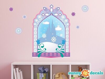 Frozen Elsa Anna Ice Castle Firework 3D Window Wall Sticker Decal Art Kids Mural