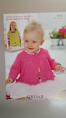 Sirdar Knitting Pattern #1915 Girl's Cardigan to Knit in Snuggly Baby Bamboo DK