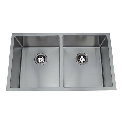 760*440*230mm Sink 2 Bowl Stainless Steel Round Edge for Kitchen Laundry