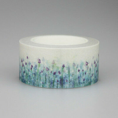 10m*20cm Blue Lavender Flower Washi Paper Masking Adhesive Tape Decorative Tape