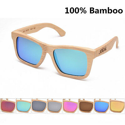 New Rectangular Unisex Handmade Bamboo Wood Mirrored Polarized Sunglasses Shades