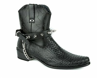 Spike Studded Punk Heels Buckle Boot Strap Gothic Military Ankle Men Women